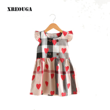 Hot Toddler Girl Dress Clothes Summer red heart Print Plaid Girls Dresses Sleeveless  high quality casual Dress For Girls XT01
