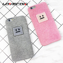 LOVECOM For Iphone 6 6S Plus 7 7 Plus Classic Funny Square Smile Face Candy Color Covers Soft Fiber Anti Shock Mobile Phone Case