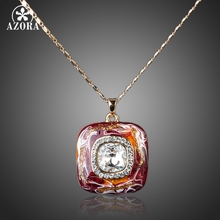 AZORA Gold Color Stellux Austrian Crystal Dark Red Oil Painting Pattern Pendant Necklace TN0065
