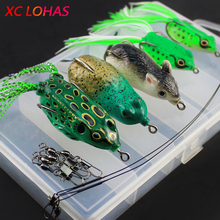 12Pcs/Box Fishing Frog Mouse Lure with Ball Bearing Swivel Interlock Snap Pin Fishing Connector Stainless Steel Trace Wire