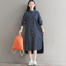 Japan Fashion Mori Girl Dress Autumn Winter New Women Vintage Striped Asymmetric Stand Collar Maxi Long Shirt Dress Robe(China)