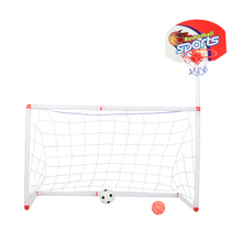 Portable Collapsible Football Kit 2-in-1 Kids Basketball Backboard Soccer Goal Set with Ball Pump Training Toy - White + Red