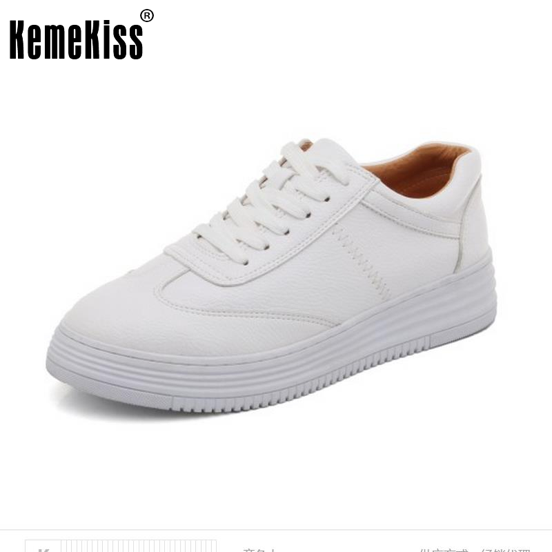 KemeKiss Ladies Real Leather Wedges Shoes Women Cross Strap Platform Round Toe Shoes Office Lady Party Footwears Size 34-40 <br>