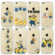 Cute Funny Despicable Me Yellow Minion Case Cover for coque iphone 7 8 6s 5s SE Cartoon Minion Phone Cases Silicone Accessories(China)