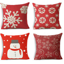 High Qulity Cotton Linen Merry Christmas Pillow Case Printed Decorative Cushion Cover Pillow Case Car Seat Pillow Case 45*45 cm(China)