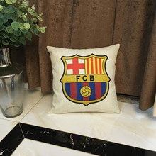 YWZN Football Club Printing Pillow Case Linen Throw Decorative Pillowcases Football Printed Barcelona Real Madrid Pillow Cover(China)