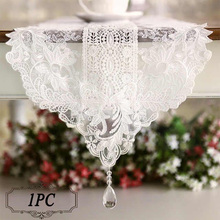 1PC New European Romantic White Table Runner Luxury Elegant Lace Table Runner for Wedding Banquet Party Celebrations Decoration