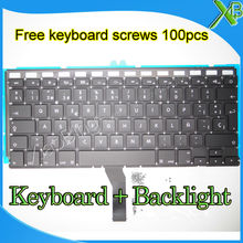 "Brand New SP Spanish keyboard+Backlight Backlit+100pcs keyboard screws For MacBook Air 13.3"" A1369 A1466 2010-2015 Years(China)"
