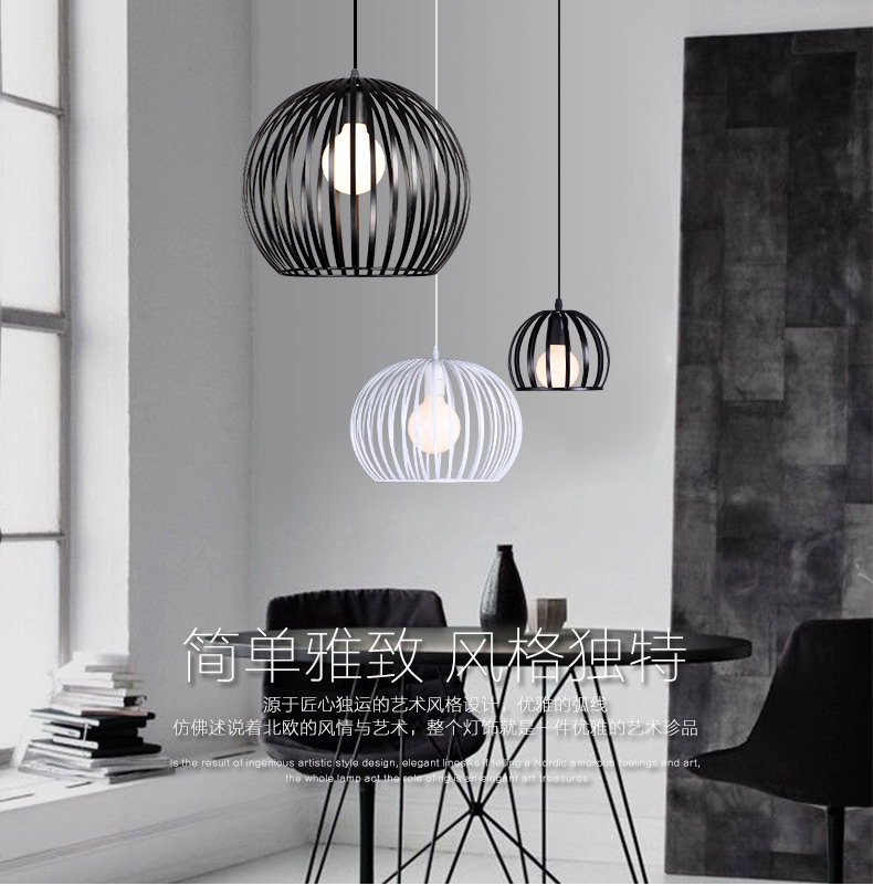 Simple modern wrought iron nordic study creative personality single head restaurant chandeliers<br>