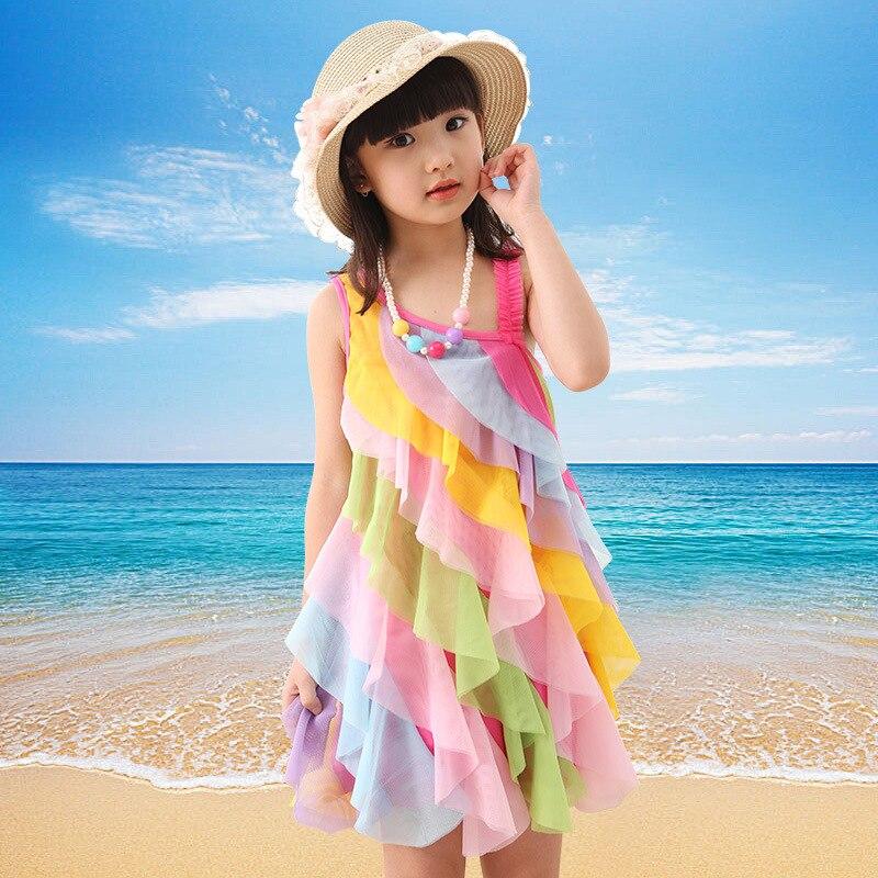 2017 summer new kids dresses for girls Rainbow dresses Childrens Dress roupas infantis menina<br><br>Aliexpress