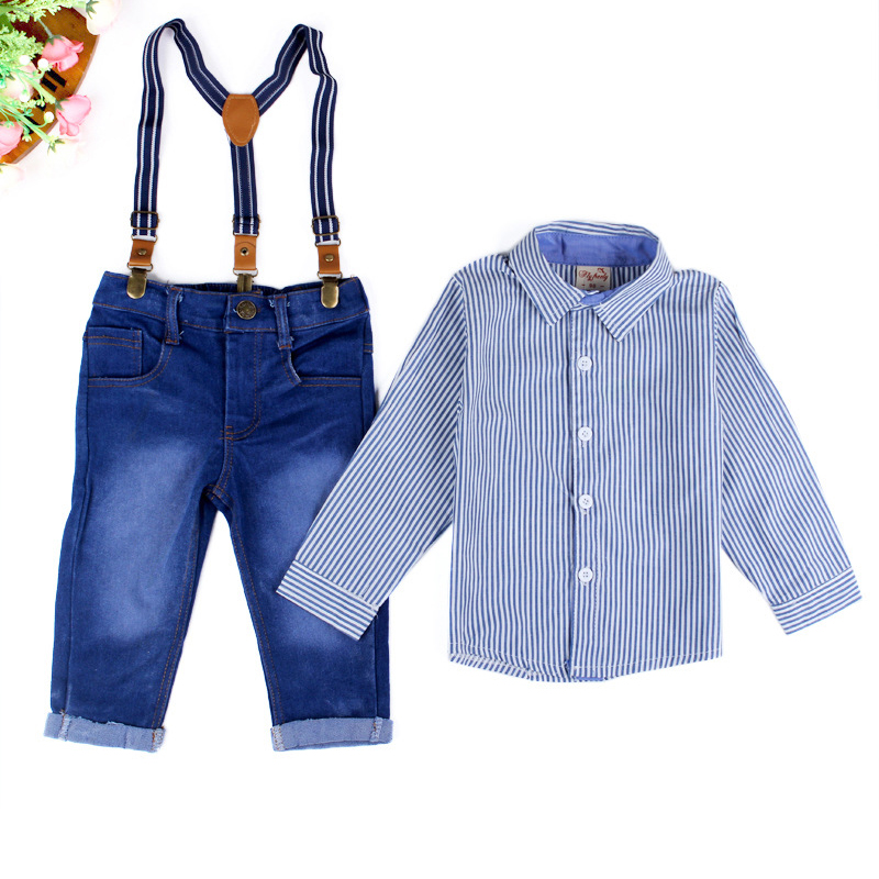 Kids clothes Autumn summer Boys Sets Children Denim Overalls Fashion boys tracksuits brand striped T-Shirt+Jeans sport suits<br><br>Aliexpress