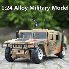 1:24 New American H1 Jeep off-road military vehicle simulation alloy car model toy free shipping(China)