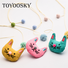 TOYOOSKY 5Pcs/Lot Colorful Cat Animal Cloth Art Necklace Fabric Cotton Lace Ball for Boy Girl Long Sweater Chain(China)