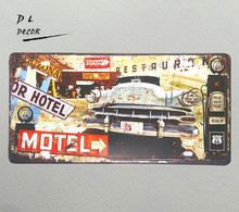 DL- MOTEL car License plate Vintage Metal Tin sign Painting Poster Home Bar wall sticker crafts(China)