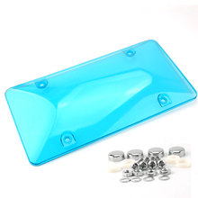 2pcs/pair License Plate Cover Frame BUG Shield Protector w/Screw Bolt Caps Tag Tinted Bubble Protector Cover for US Car