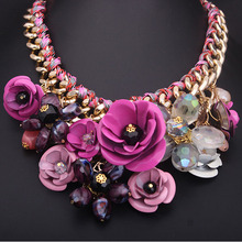 New Adjustable Hot Fashion Women Big Gold Chain Rhinestone Crystal & Rose Flower Bib Statement  multicolor Necklace