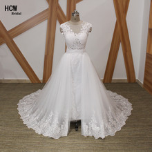 2017 Detachable Train Mermaid Wedding Dress See Through Back Sleeveless Tull Lace Long Wedding Dresses Arabic Bridal Gowns