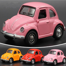 Alloy Retro Vintage Antique Car Wecker VW Volkswagen Beetle Car Diecasts Vehicles Model Toys Pullback Acousto-optic Toys