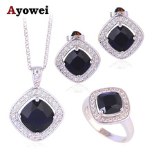 Trendy Square Design Mysterious Fashion Jewelry Set Silver Stamped Black Onyx Zircon Earring Necklace Ring Sz #6#7#8#9#10 JS635A