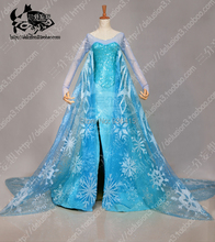 Snow Queen Elsa Costume Custom For Kids Adults Princess Dress Blue Sequined Cosplay Costume for party Free Shipping