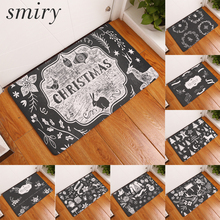 Smiry light thin soft flannel water absorption door mats cartoon lonely christmas pattern rugs 40*60cm flannel bedroom carpets(China)