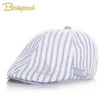 New Cotton&Linen Baby Hat Handsome Striped Cap Beret Baby Boy Accessories for 1-2 Years 1 Piece(China)