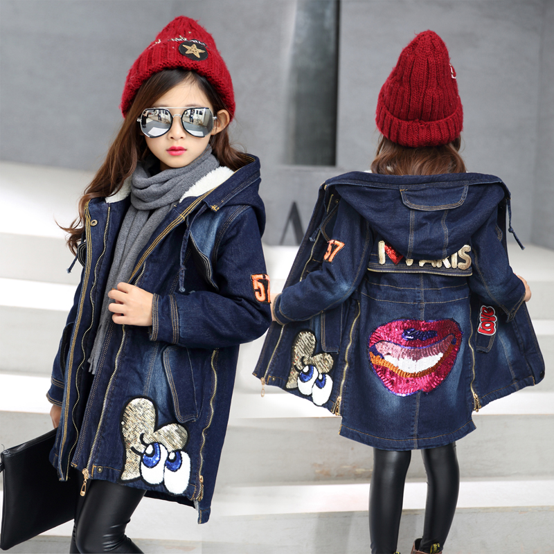 New 2017 Cartoon Thickened Big Girl Clothes Autumn Winter Embroidered Sequins Denim Jacket Female Children Casual Clothing <br>