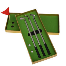 Best Seller 3Pcs Mini Golf Clubs Models Ball Pen Golf Balls Flag Set Gift Three Colors