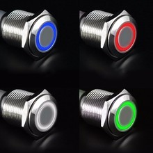 Car Electronics Accessories 12V 16mm LED Power Push Button Switch Silver Aluminum Latching Type A/B/C/D 4 COLORS 6A/125VAC