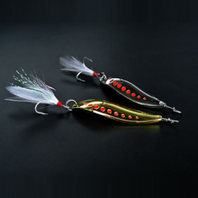 Metal Spinner Spoon Fishing Bass Lure Hard Baits Sequins Noise Paillette Feather Treble Hook Tackle 10/15/20/25/30g(China)
