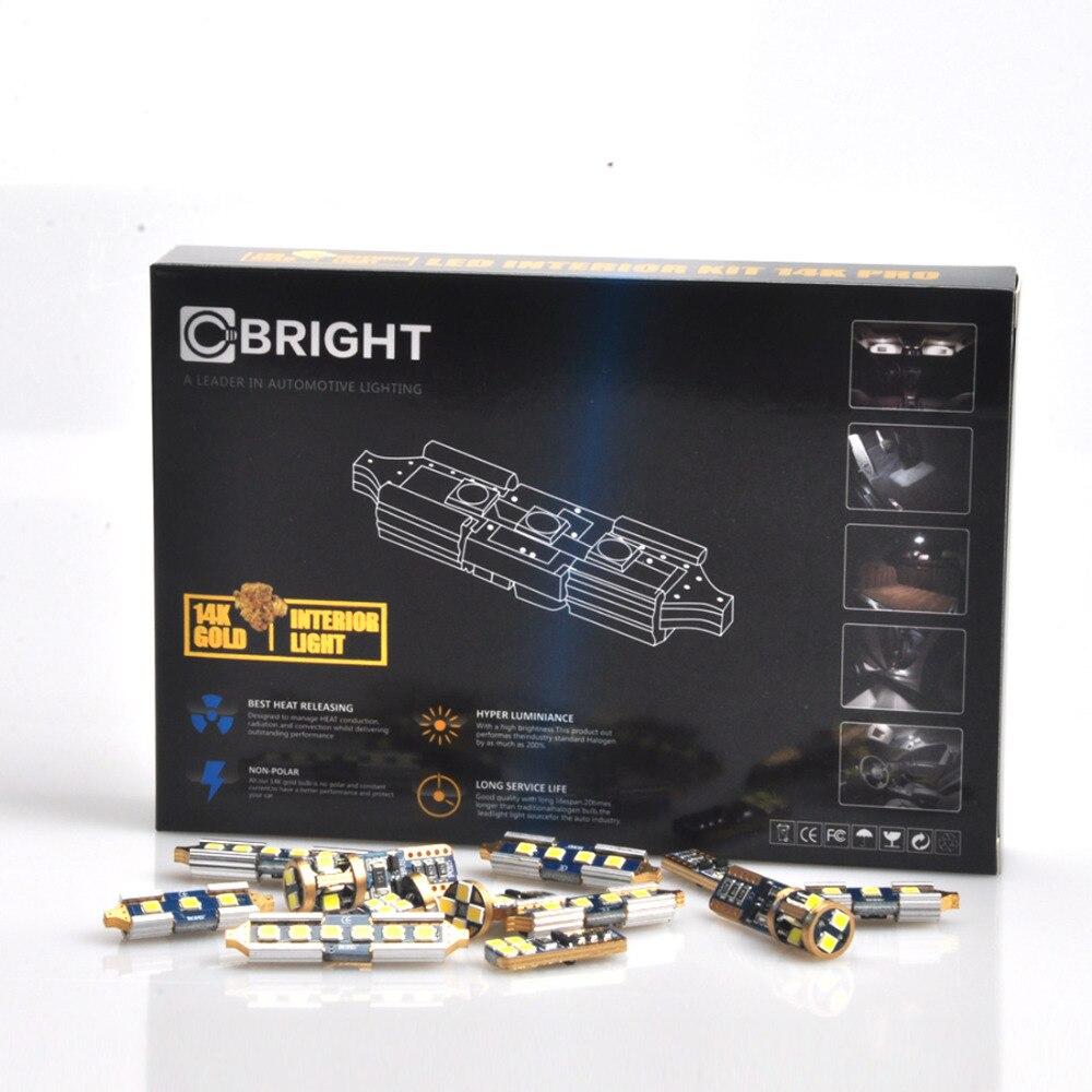 16pcs Canbus Xenon White 14K Gold Full Interior Package LED Map Light kit for 2003 - 2010 BMW (E83) X3 WITH Samsung 3030 LED <br>