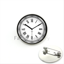 Fashion men body jewelry popular clock brooch charming  pattern see you at  time pins birthday gift for father, KC338