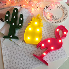 Lovely 3D LED Flamingo Pineapple Cactus Night Light Romantic Table Lamp Cute Marquee Home Christmas Decor Children's Day Gifts