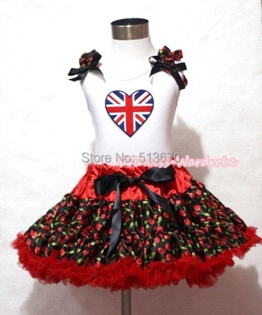 VALENTINE Red Cherry Pettiskirt Skirt White Pettitop Top British Heart Ruffles Set 1-8Y MAPSA0236<br>