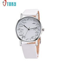 OTOKY Willby Lazy Cat Cartoon Printed Leather Band Analog Alloy Quartz Wrist Watch 161221 Drop Shipping