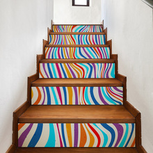 Free shipping 3D Stairway Stickers Colorful Stripes PVC Home Stairs Accessories Wall Poster For kid's room Living Room 6Pcs/set(China)