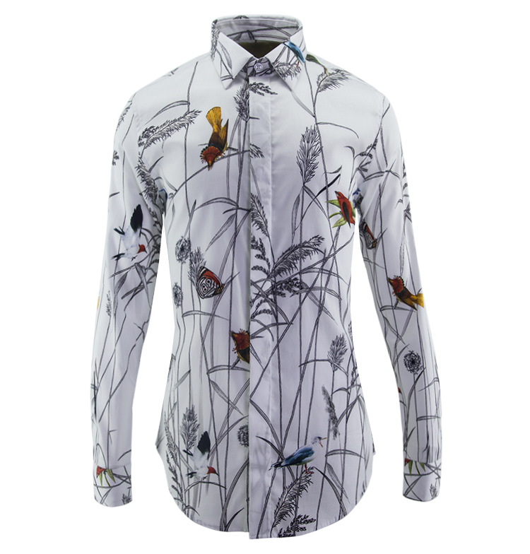 new arrival Men High-grade Long-sleeved shirt Fashion Creative jet printing digital casual spring cotton size M L XL 2XL3XL