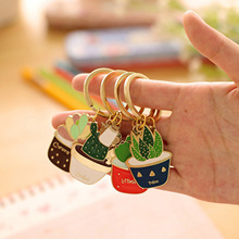 4 Style Metal Succulent Plants Keychains Key Rings Cute Key Chains Personalized Women Car Bag Charms Pendant Keyring Holder Gift