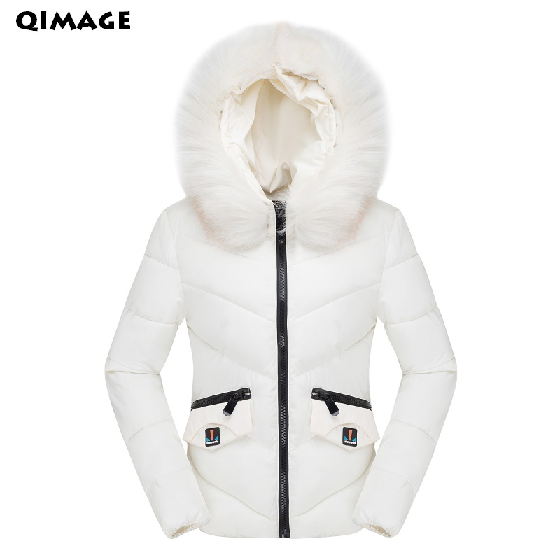 QIMAGE Winter women coat short style Cotton Padded warm Quilting Parka overcoats casual thick winter fur collar women jacketsÎäåæäà è àêñåññóàðû<br><br>
