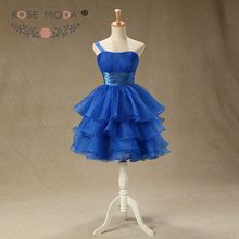 Real Photo One Shoulder Royal Blue Prom Dress Knee Length Tiered Ball Skirt Party Dress Custom Made Size and Color