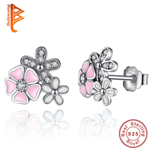 BELAWANG Real 925 Sterling Silver Poetic Daisy Cherry Blossom Stud Earrings Mixed&Clear CZ Pink Flower Women Engagement Jewelry