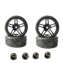4pcs 26mm Rubber RC Vehicle Tires & Wheels Hex 12mm Foam Insert 1/10 On Road Flat Run Car Parts HPI Tamiya HSP(China)