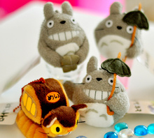HOT NEW 4Models , 8cm BUS TOTORO Plush Stuffed TOY DOLL With Umbrella TOTORO Party gift Keychain Plush Toys(China)
