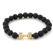 New Style Frosted matte Lava stone Crystal Antique Silver Barbell Jewelry Male Female Fit Life Dumbbell Beads Bracelets pulsera