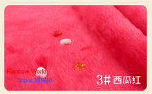 3# Watermelon Red 1 meter Imitation Rabbit's hair plush fabric height 2cm for DIY colthes overcoat hat carpet material