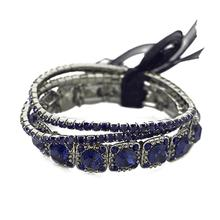 Blue Crystal Inlaied Gem Charm Bracelets alloy Stamped Bracelets & Bangles For Women Bijoux Pulseira Feminina(China)