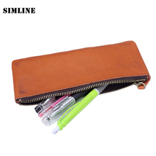 2016 New Vintage Casual 100% Genuine Leather Cowhide Zipper Men Mens Women Long Wallet Pen Pencil Bag Bags Case Holder For Man