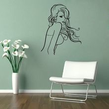 Hot Selling Sexy Girl Salon Vinyl Wall Decal Woman Back Long Hair Beauty Interior Art Wall Sticker Salon Hair Shop Sticker Decor