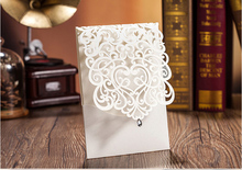 High Quality Wedding Invitation Card Menu Card White 185*128mm With Crystal Diamand Laser Arts