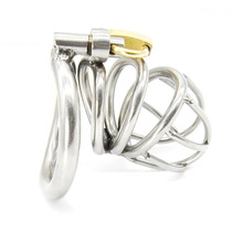 Buy Stainless Steel Small Male Chastity device Adult Cock Cage Curve Cock Ring Sex Toys Bondage Chastity belt CPA224-1
